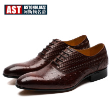 NEW Design !!! Woven Leather Formal Dress Shoes Men Genuine High-end Oxfords Business Man Ostrich Grain