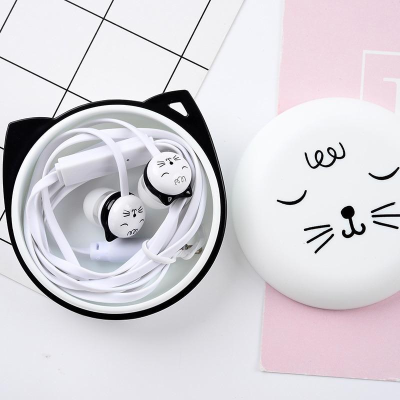 5pcs parcel Cute Cat Earphones Girls Earphone 3 5mm Stereo Music In ear Earplugs With Mic For MP3 Samsung Xiaomi Kids Gifts in Phone Earphones Headphones from Consumer Electronics