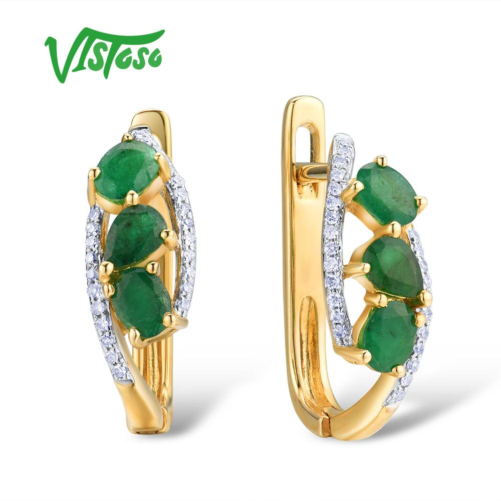 VISTOSO Gold Earrings For Women Pure 14K 585 Yellow Gold Glamorous Elegant Natural Emerald Sparkling Diamond Trendy Fine JewelryVISTOSO Gold Earrings For Women Pure 14K 585 Yellow Gold Glamorous Elegant Natural Emerald Sparkling Diamond Trendy Fine Jewelry