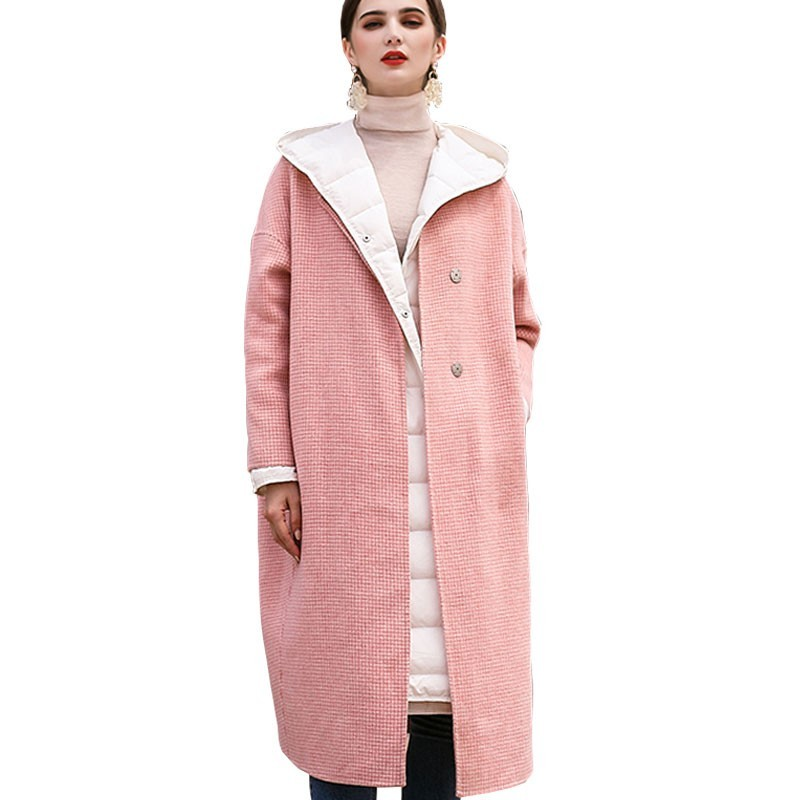 Invierno Chaqueta Abrigo Mujeres Rosa Las Nueva Larga Lana Cara De Moda  2019 Cuello Mujer Pink Doble Delgada Hj85 Redondo Popular Plaid Avtzzx5wn 2a2326ad796d