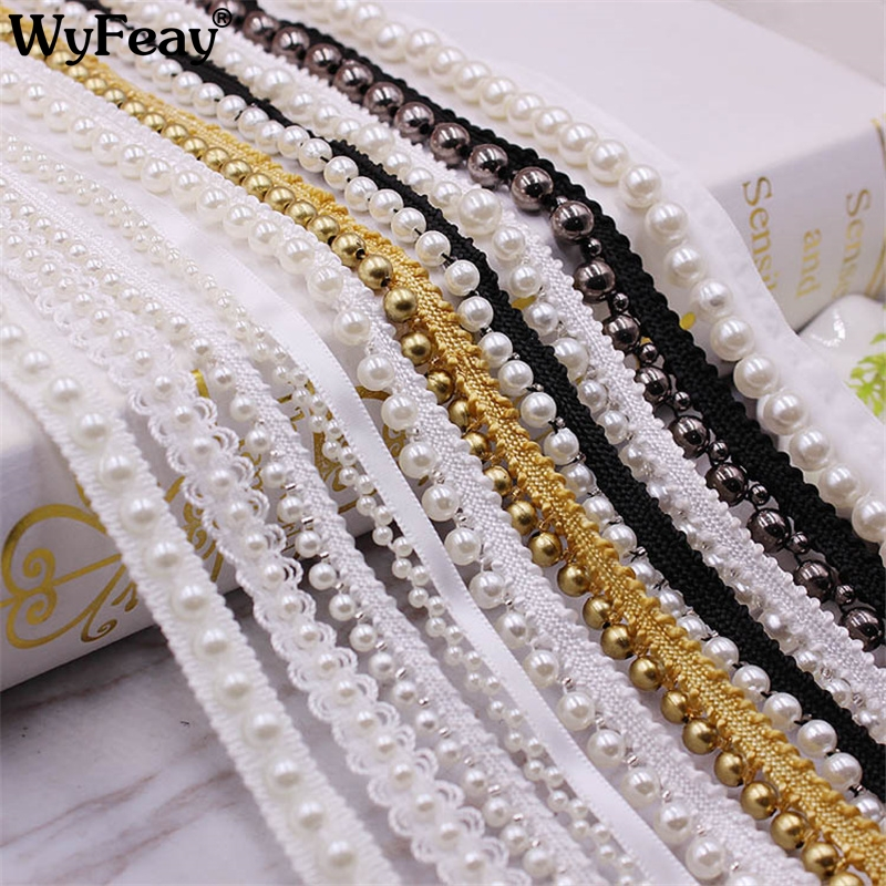 Lace Ribbon Dress Trim-Tape Fabric-Collar Headdress-Materials Pearl Sewing 1-Yards White/black