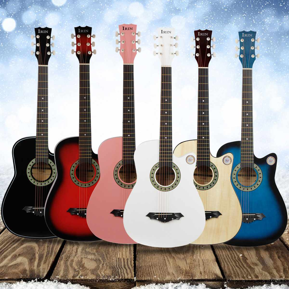 irin 38 inch guitar acoustic beginners started practicing guitar 4 strings educational musical. Black Bedroom Furniture Sets. Home Design Ideas