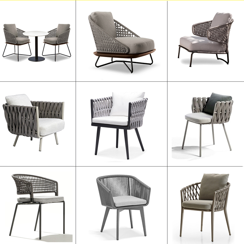 New design good quality Garden hemp rope furniture Patio aluminum frame set leisure chair for outdoor transport by sea