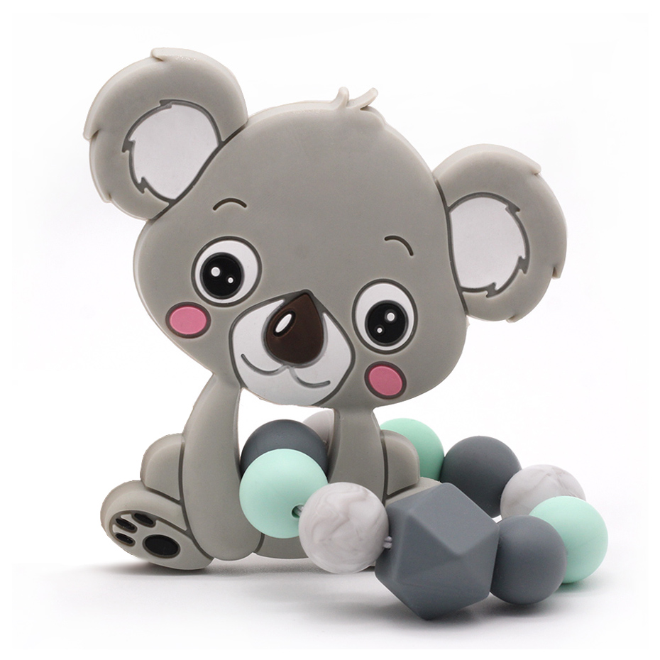 10pc Silicone Teether Rodent Baby BPA Free Bear Animal Shape Safe Chew Toys Teething Ring Gift For Baby Chewing