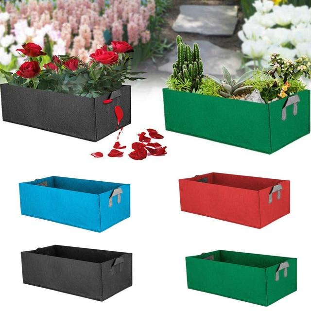 Tecido Crescer Saco quadrado Pote Sacos Sacos de Plantio de Jardim Com Mão Flor Planta Crescer Saco Vegetal Verde Fontes Do Jardim