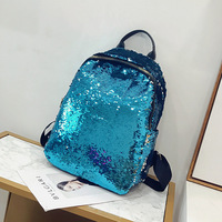 Miyahouse Solid Color Zipper Women School Bag Fashion Bling Sequins Large Capacity Females Rucksack PU Leather Ladies Backpack