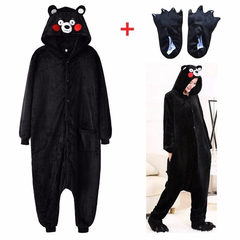 Adult Halloween Anime Onesie Black Bear Jumpsuits Pajamas Cosplay Costume Kigurumi Couple Panda Flannel Warm One Piece Pajamas