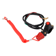 Universal Red Black motorcycle Motorbike Motor Pit Bikes Engine Stop Cut Off Tether Line Safety Lanyard Kill Switch Push Button цена