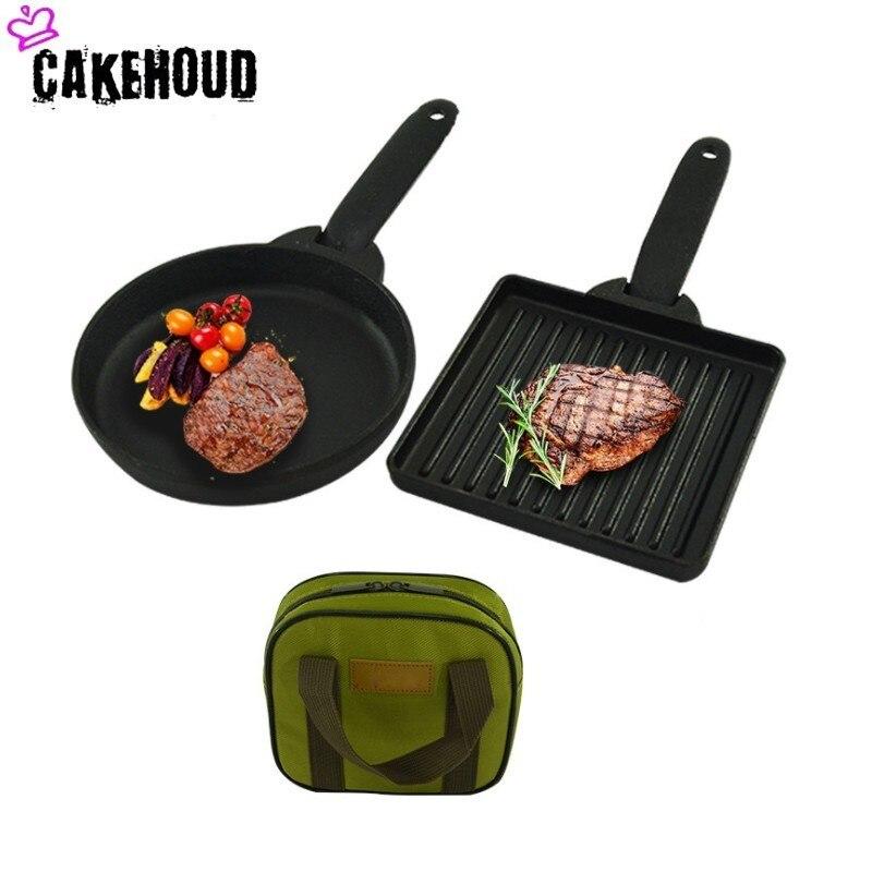 CAKEHOUDC poêle en fonte Camping en plein air pré-aromatisé ménage Mini poêle antiadhésive pour la cuisson four pour la cuisson