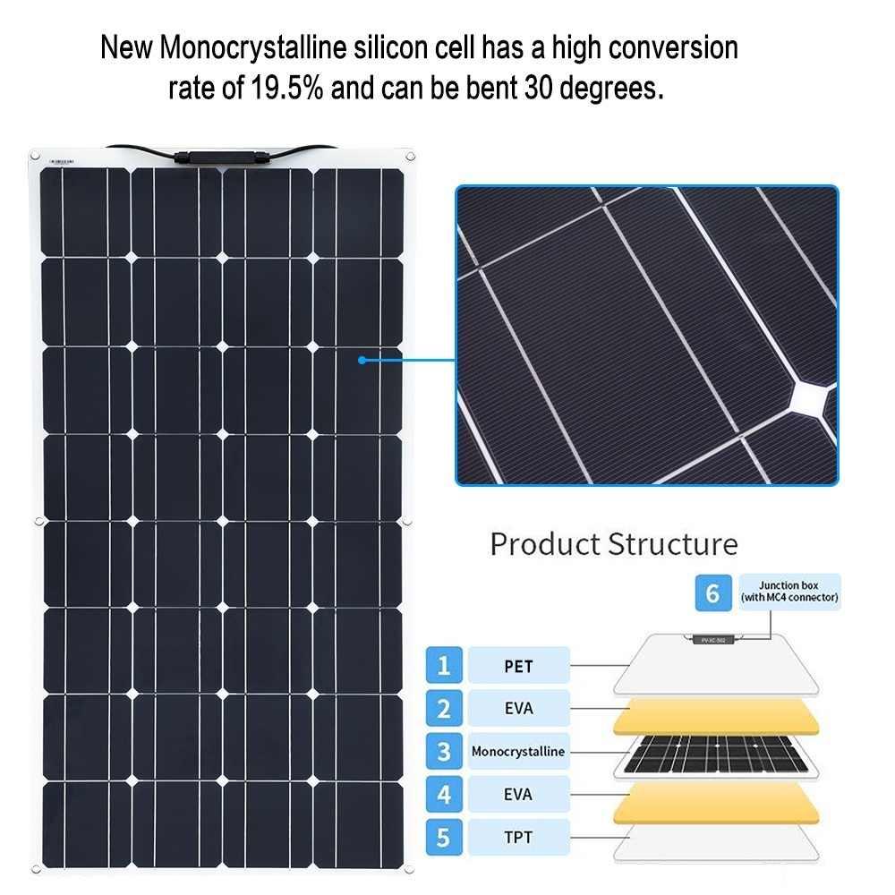 BOGUANG 100w Monocrystalline silicon Module flexible solar panel + EP-solar 10A 12V/24V Controller for 12v Battery Power Charger
