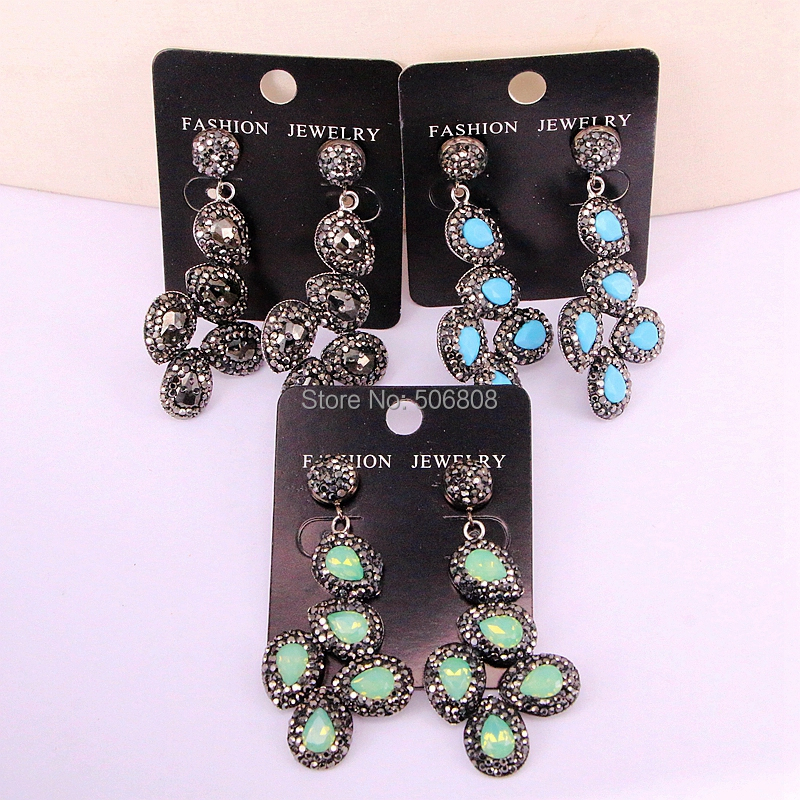 5Pairs ZYZ326 0586 Sparkly Dangle Earring With Rhinestone Pave Cat Eye Stone Earring Flower Shape Earring