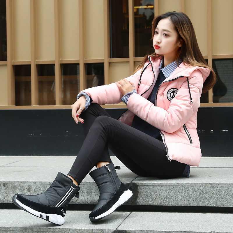 Kadınlar için kar botları kış çizmeler platformu kürk botları kaymaz su geçirmez kış ayakkabı kürk sıcak kadın Botas Mujer botas peluş