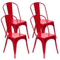 4pcs Red Steel Backrest Chairs Home Garden Lounge Furniture Kit for Cafe Gatherings Dining Stool Retro Dining Chairs