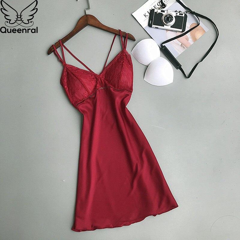 Queenral Women's Sleep Lounge   Nightgowns     Sleepshirts   Lingerie Night Dress Nightwear Female Silk Satin Sleepwear With Chest Pads