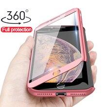 360 градусов полный защитный чехол для iphone X 5 5S SE чехол для iphone XR 11 Pro XS Max 6 6S Plus 7 8 Plus Жесткий PC чехол со стеклом