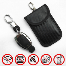 Anti-theft RFID Signal Blocking Car Remote Key Cover Pouch Case Bag Carbon Fiber