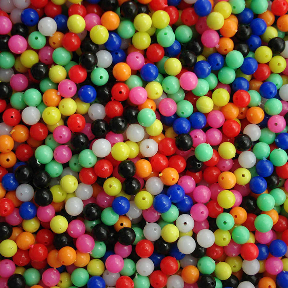 100pcs Fishing Rigging Plastic Beads Round Colorful Fishing Beads Multiple Colors Mixed Bait Lures Carp Fishing Tackle Pesca