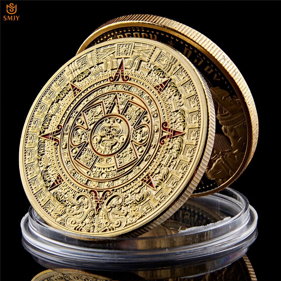 Mexican Maya Aztec Calendar Prophecy Culture Gold Plated 999 Replica  Commemorative Coin Collectibles|Non-currency Coins|   - AliExpress