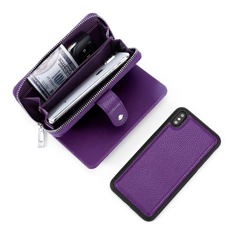 MEGSHI leather detachable case for iPhone XR case 2 in 1 leather zipper bag for iPhone XS Max case Credit Card Wallet Case