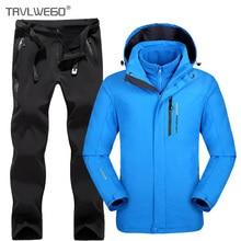 TRVLWEGO Men Camping Hiking Jacket Pants 1 Set Outdoor Waterproof Windproof With Thicken Fleece Climbing Jackets&Pants 5XL