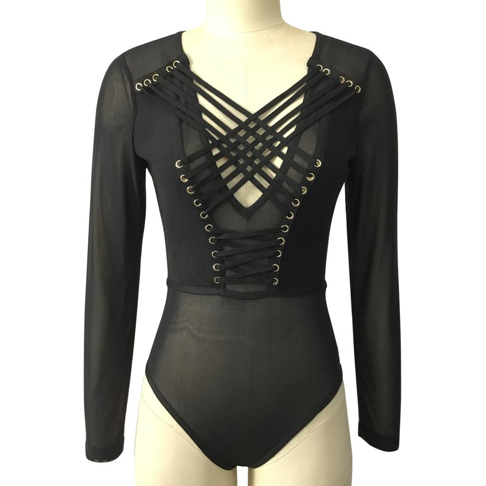 Femmes corps Donna à lacets corps dames Combinaison Sexy maille string Body à manches longues grande taille Negro Boddy Mujer barboteuse noir
