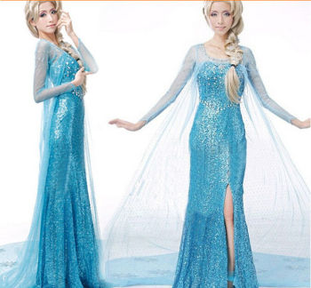 Hot Sales Elsa Queen Adult Women Dress Costume Cosplay Flowery Fancy Party Gown Dresses Vestido Blue Sexy Women Clothing 1