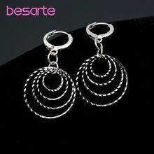 Большие круглые висячие серьги кольца в Корейском стиле