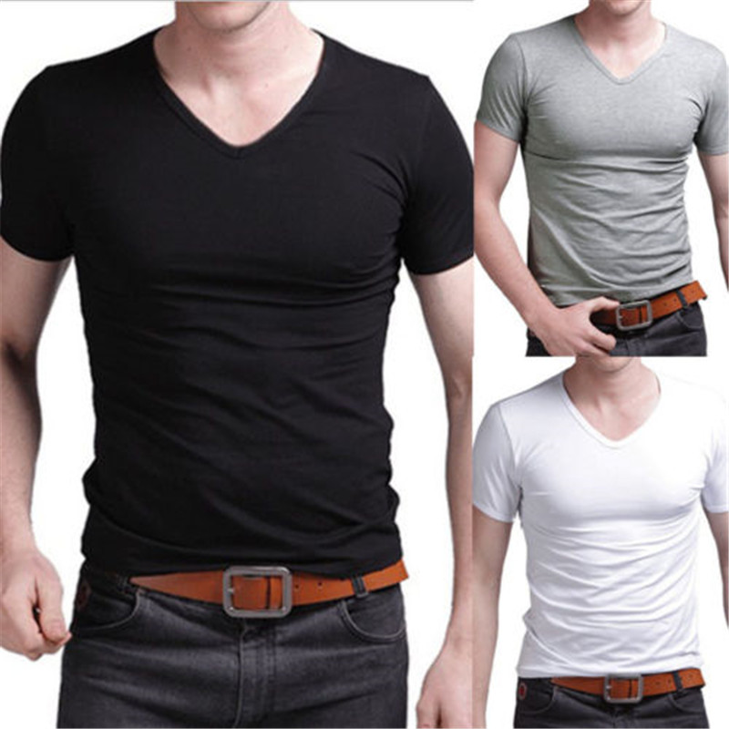 HOT Men/'s Round Neck T-shirt Slim Fit Short Sleeve Solid Color Casual Tee Top