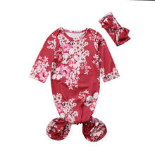 Baby Grobag Long Sleeve Sleeping Bag+Hair band 0-6 Months Floral Bag Wrap Romper(China)