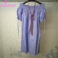 Полосатое синее платье для женщин высокого качества модное платье с вырезом лодочкой А силуэта до колена женское платье
