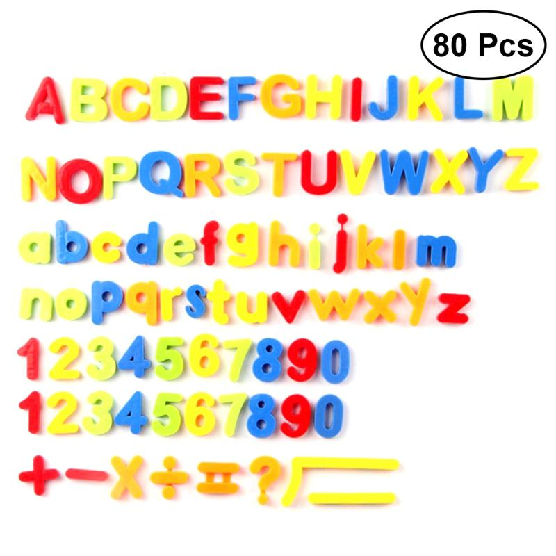 80PCS Early Education 26 Alphabet Magnetic Plastic Cutout Discs Stickers Toys For Kids Education Gifts Cildren 26 Letters Toys