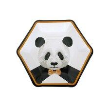 8 шт одноразовая листовая бумага для обеда для барбекю сувениры для вечеринки ко дню рождения принадлежности(панда