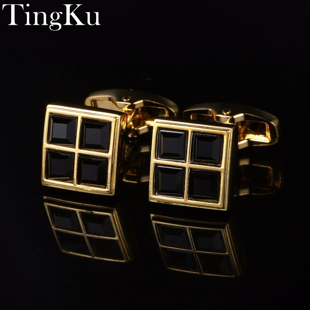 Classic Cufflinks Shirt High Quality for Mens Square Golden Metal Cuff Links Black Enamel Buttons Wedding Gift for Men Jewelry