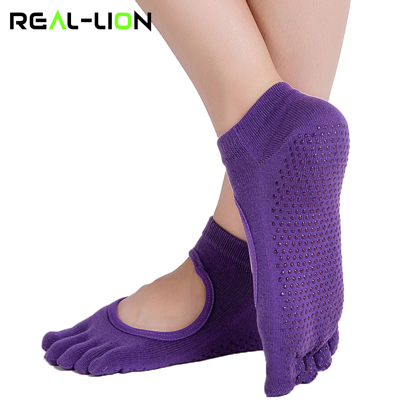 Aspiring Reallion Women Yoga Socks Anti-slip Five Fingers Backless Silicone Non-slip 5 Toe Socks Ballet Gym Fitness Sports Cotton Socks Products Are Sold Without Limitations