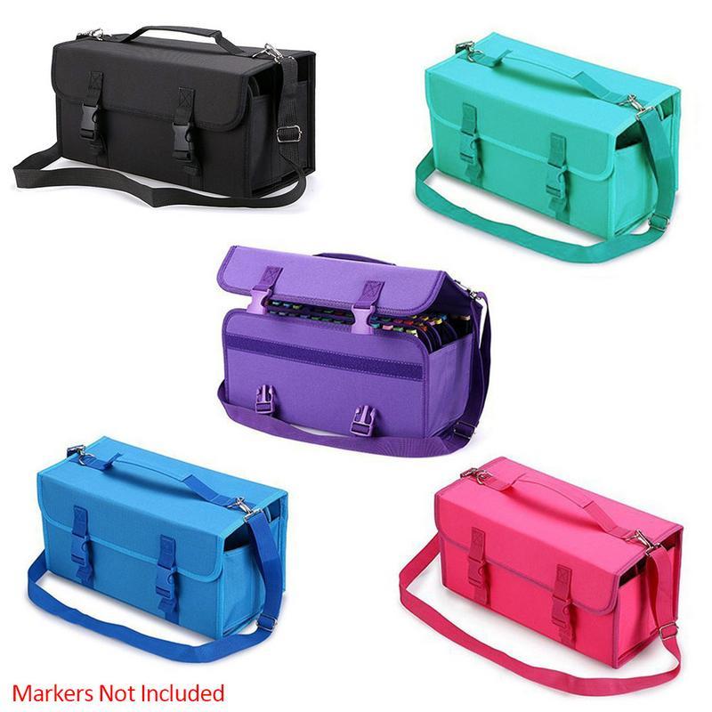 120 Hole Mark Sketch Storage Pen Bag Painting Bag Marker Case 120 Storage Holders Foldable Extendable Oxford With Shoulder Strap
