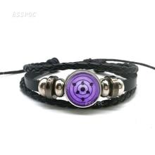 Купить с кэшбэком Rinnegan Eyes Naruto Bracelet Sharingan Eye Black Leather Bracelet Uchiha Uzumaki Clan Logo Anime Cosplay Lover Gift