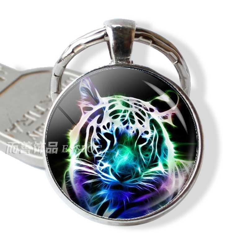 Tigre Animal vidrio Domo llavero cabujón Metal llavero rey del bosque moda accesorios joyería colgante regalo