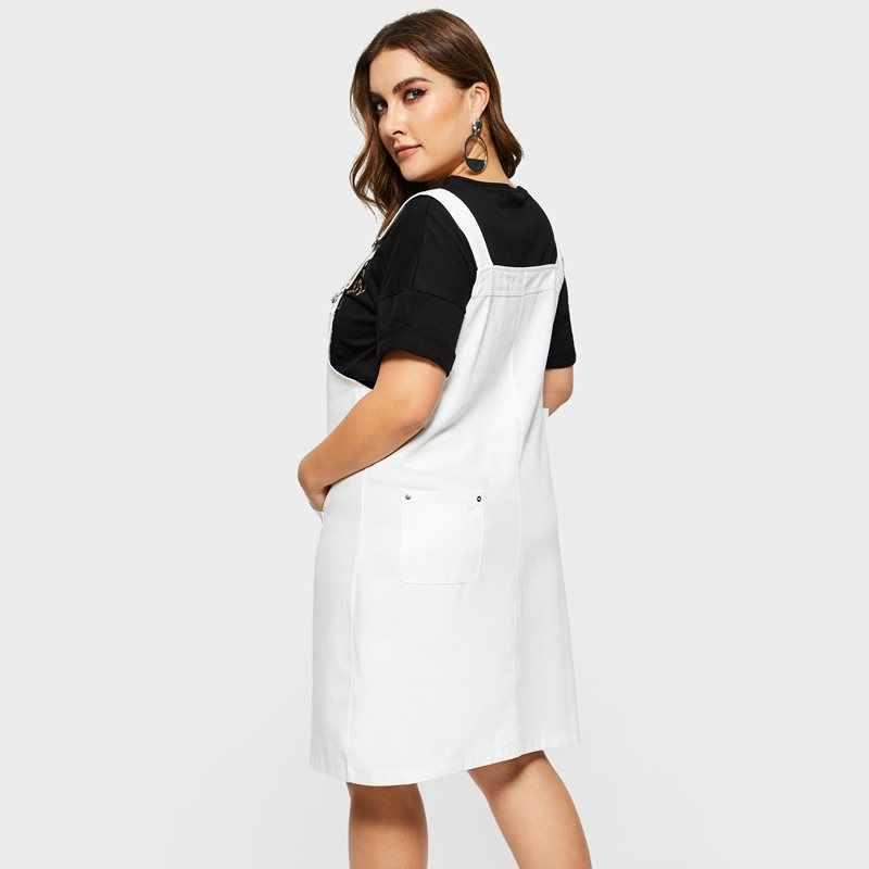 Женские Большие размеры Весна Лето Белый Джинсовый сарафан на подтяжках платье офисное женское платье для работы на высокой улице праздник пляжные свободные джинсы платье
