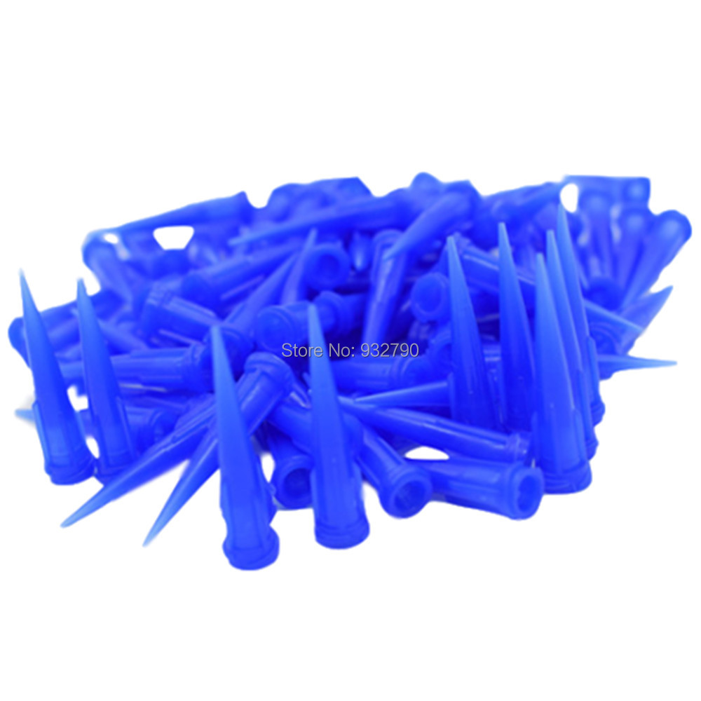 100pcs 22G Blue Tapered Dispensing Tips Glue Liquid Dispenser Needle For Pastes Sealants Silicones Solder Pastes Compounds