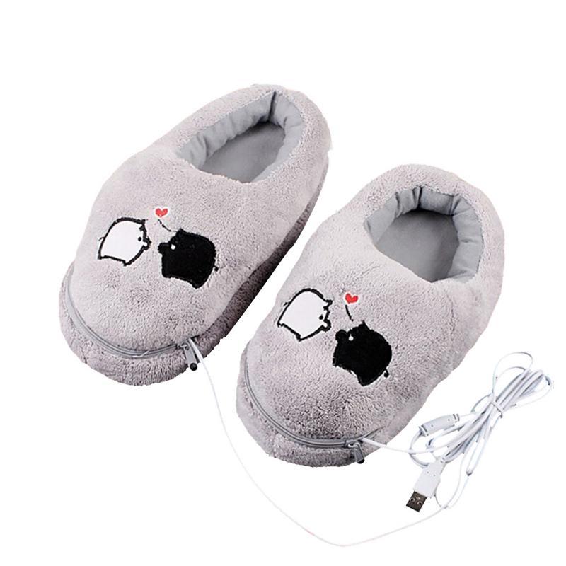 1 par USB calefacción eléctrica Slipper calefactables felpa gris con Guarro lindo para pies alivio del frío invierno