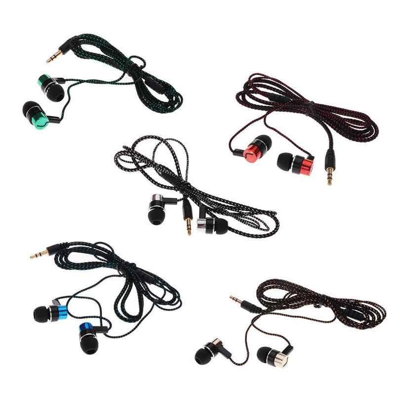 Słuchawki douszne słuchawki z mikrofonem Stereo podwójne dźwięku przestrzennego pleciony drut trwałe słuchawki douszne sportowe do biegania muzyki słuchawki do gier