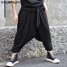 INCERUN, повседневные штаны, хип-хоп штаны, мужские шаровары, брюки до щиколотки, пэчворк, перекрещивающиеся брюки, мужские мешковатые брюки