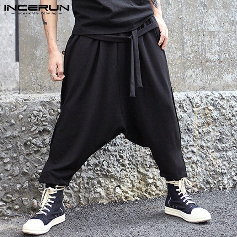 INCERUN 2020 Casual Pants Hiphop Pants Men Harem Trousers Ankle-Length Patchwork Cross-pants Drop Pantalon Hombre Baggy Trouser