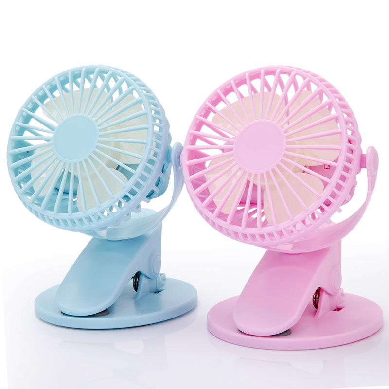 360° Rotation Mini Fan Battery Operated/USB Rechargeable Clip On Fan For Baby Stroller/Gym/Office/Study Blue Pink White Black