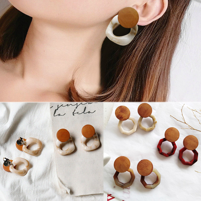 Hot Sale Large 1Pair Fashion Big Resin New Acetic Acid GeometricHigh Quality Square Wood Girls Korea Trendy Deop Earring Gifts