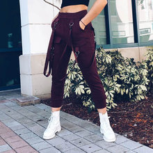 Women Military Strap Cargo Pants Metal Buckle Joggers Trousers High Waist Sweatpants Long Streetwear Hiphop Stylish Black Winter(China)