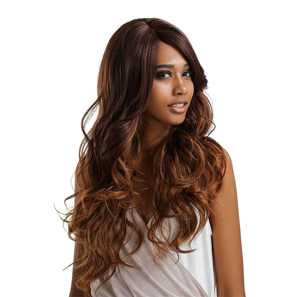 25 inch Brown Synthetic Wigs for Women - Natural Looking Long Wavy Right Side Parting Heat Resistant Lace Front Replacement Wig trendy fluffy elegant bright honey blonde long wavy heat resistant synthetic women s lace front wig