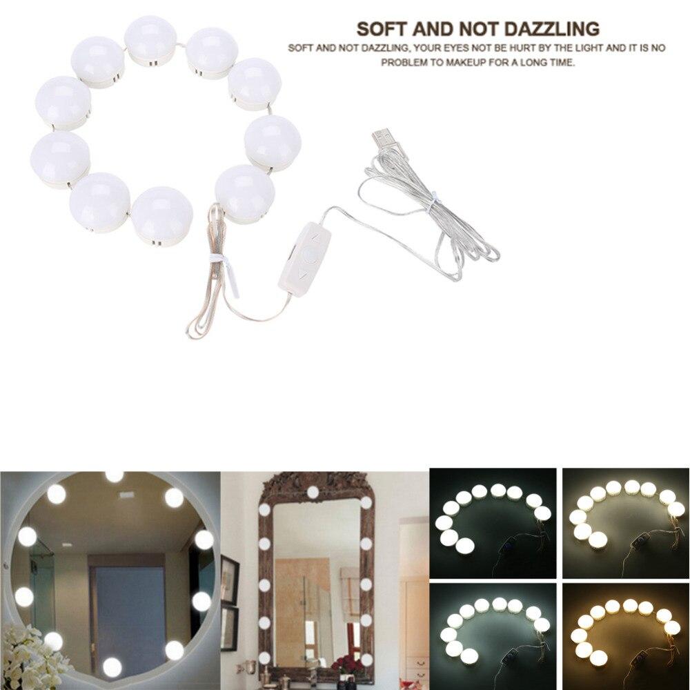 Schminkspiegel Make-up Spiegel Eitelkeit Led-lampen Kit Usb Lade Port Kosmetische Beleuchteten Make-up Spiegel Einstellbare 5 Helligkeit Lichter Knitterfestigkeit
