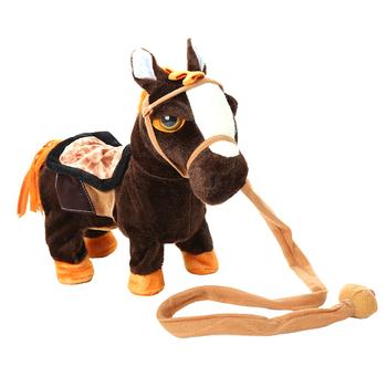 Śliczne elektryczny chodzący pluszowe zabawki Robot koń miękkie wypchane zwierzę zabawki elektroniczne śpiewać zabawki muzyczne dzieci dzieci prezenty tanie i dobre opinie 14 lat 31 cm-50 cm CN (pochodzenie) Pp bawełna Plush Toy Zwierzęta i Natura