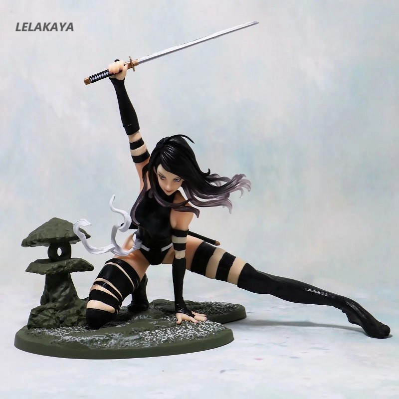 16cm <font><b>Sexy</b></font> Girl <font><b>Movie</b></font> <font><b>X</b></font>-Men Psylocke Ninja Outfit MK154 Battle Ver Model PVC In Black Ninja Outfit Anime Actin Figure Doll New image